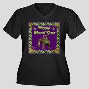 Happy Mardi Gras Elephant Women's Plus Size V-Neck