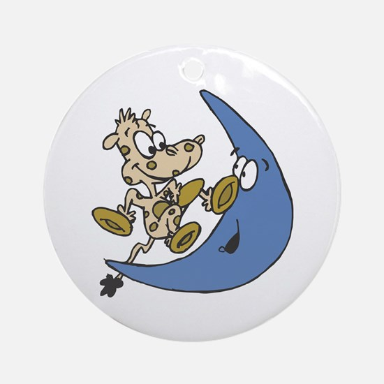Cow Jumping Over the Moon Ornament (Round)