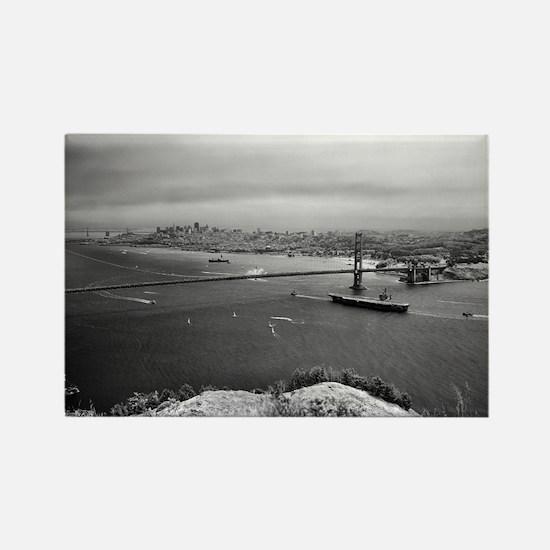 USS Nimitz - Golden Gate Bridge Rectangle Magnet