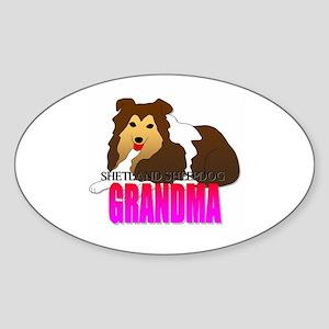 Shetland Sheepdog Grandma Oval Sticker