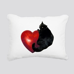Black Cat Heart Rectangular Canvas Pillow