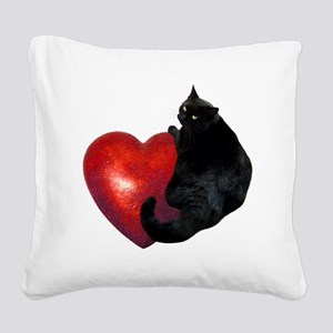 Black Cat Heart Square Canvas Pillow