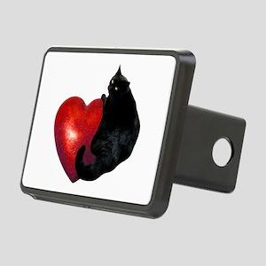 Black Cat Heart Rectangular Hitch Cover