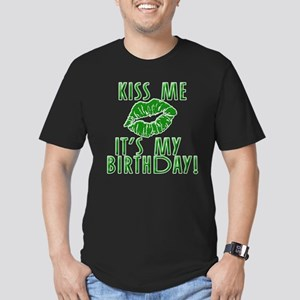 Green Kiss Me It's My Birthday Men's Fitted T-Shir