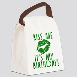 Green Kiss Me It's My Birthday Canvas Lunch Bag
