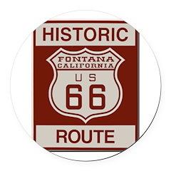 Fontana Route 66 Round Car Magnet