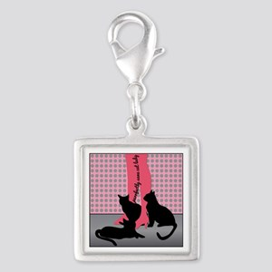 Purrfectly Sane Cat Lady Silver Square Charm