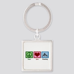 Peace Love Wrestling Square Keychain