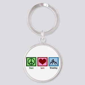 Peace Love Wrestling Round Keychain