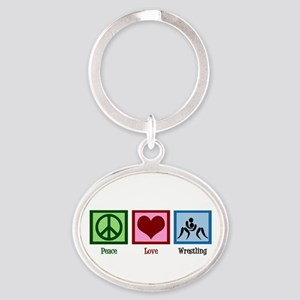 Peace Love Wrestling Oval Keychain