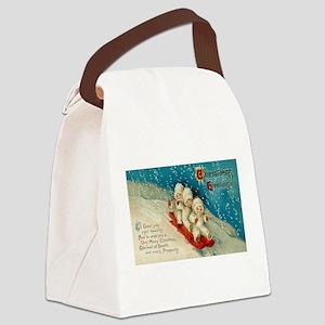 Christmas Sledding Children Canvas Lunch Bag