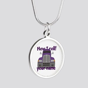 Personalized How I Roll Trucker Silver Round Neckl