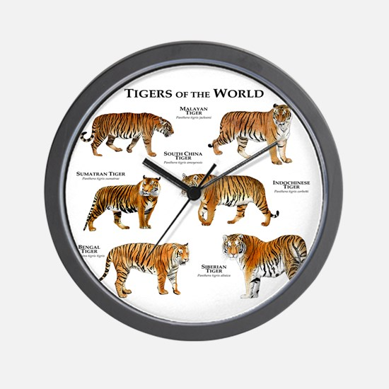 Tigers of the World Wall Clock
