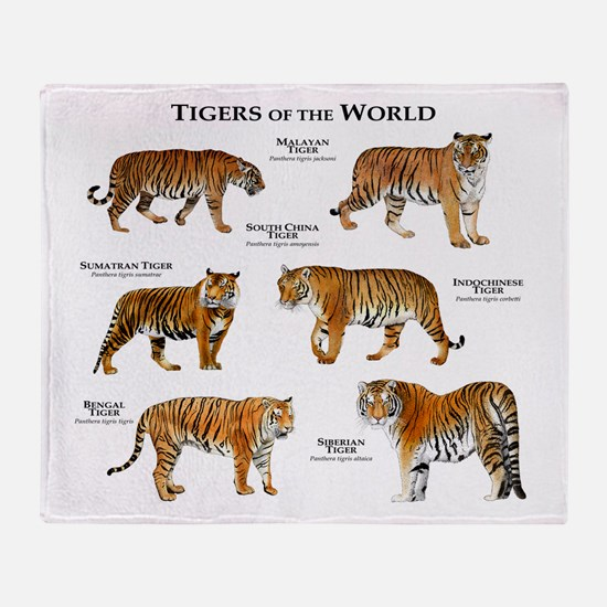 Tigers of the World Throw Blanket
