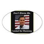 I Voted For Romney Sticker (Oval 50 pk)
