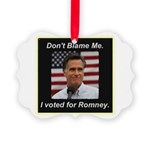 I Voted For Romney Picture Ornament