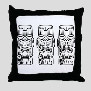 Three Tiki Statues Throw Pillow