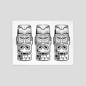 Three Tiki Statues 5'x7'Area Rug