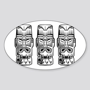 Three Tiki Statues Sticker (Oval)