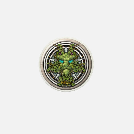 Vine Celtic Greenman Pentacle Mini Button
