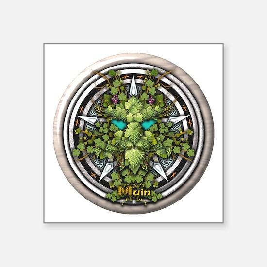 "Vine Celtic Greenman Pentacle Square Sticker 3"" x"