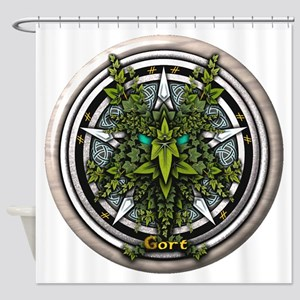 Ivy Celtic Greenman Pentacle Shower Curtain