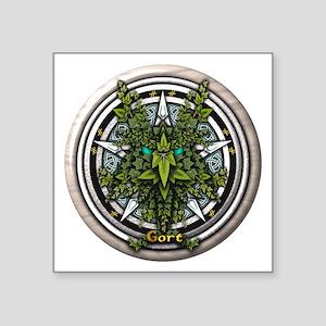 "Ivy Celtic Greenman Pentacle Square Sticker 3"" x 3"
