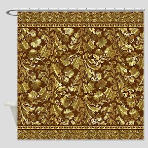 Metallic Gold Brown Vintage Floral Damasks And La