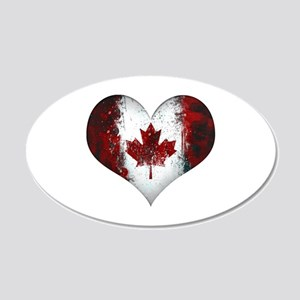 Canadian heart 2 20x12 Oval Wall Decal