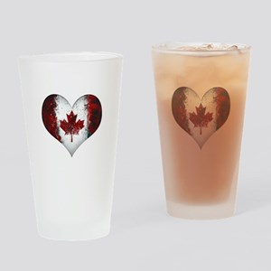 Canadian heart 2 Drinking Glass