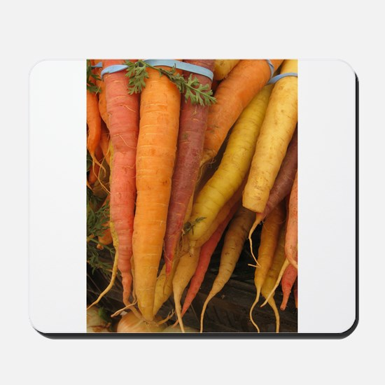 an assortment of long organic carrots in colors Mo