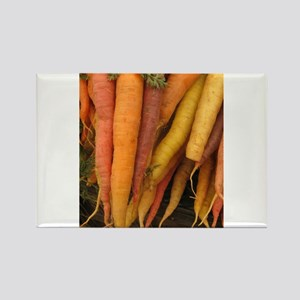 an assortment of long organic carrots in colors Re