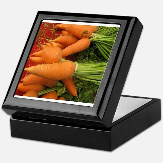 short carrots on red at a market Keepsake Box