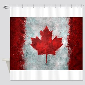 Canadian Abstract Poster Shower Curtain