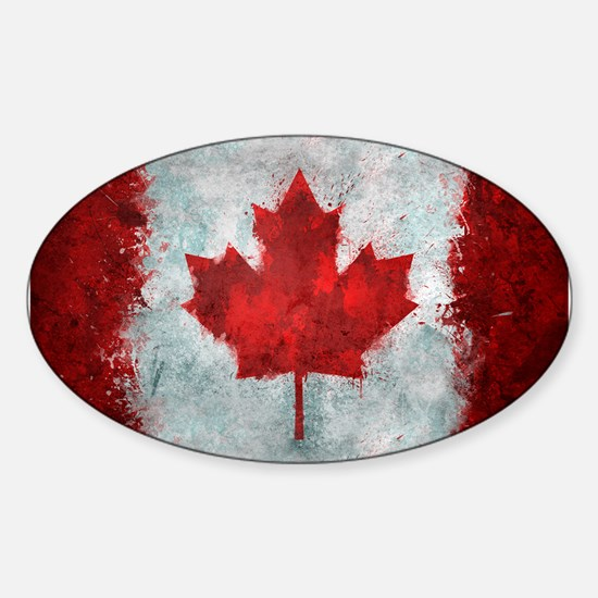 Canadian Abstract Poster Sticker (Oval)