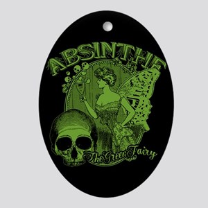 Absinthe Green Fairy Lady Collage Ornament (Oval)