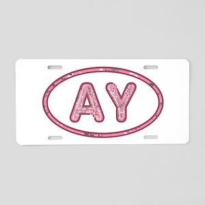AY Pink Aluminum License Plate