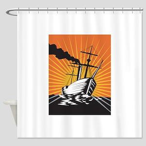Sailing Ship Retro Woodcut Shower Curtain
