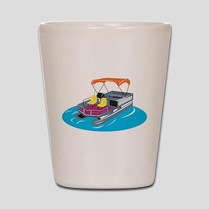 Pontoon Boat Retro Shot Glass