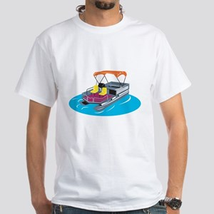 Pontoon Boat Retro White T-Shirt