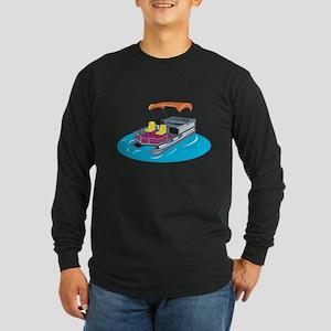 Pontoon Boat Retro Long Sleeve Dark T-Shirt