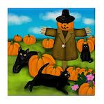 BLACK CATS SCARECROW HALLOWEEN Tile Coaster