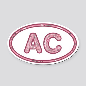 AC Pink Oval Car Magnet
