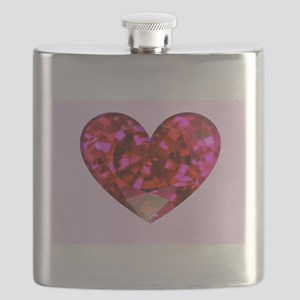 Ruby Heart Flask