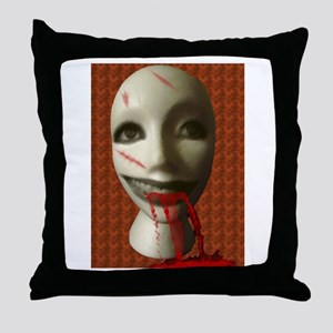 Scary Dummy Head Throw Pillow