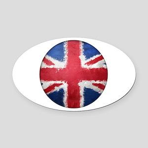 Union Flag Grunge Button Oval Car Magnet