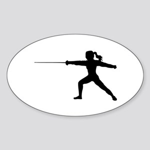 Girl Fencer Lunging Sticker (Oval)