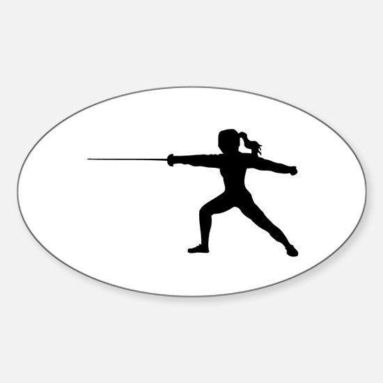 Girl Fencer Lunging Sticker (Oval)