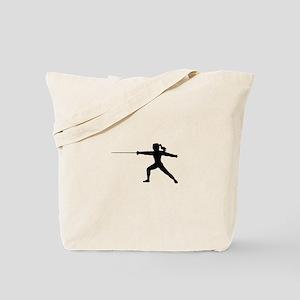 Girl Fencer Lunging Tote Bag