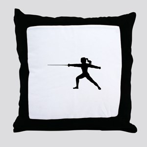 Girl Fencer Lunging Throw Pillow